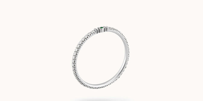 Alliance full-pavée (1,4 mm) - Or blanc 18K (1,00 g), diamants 0,20 ct - Courbet
